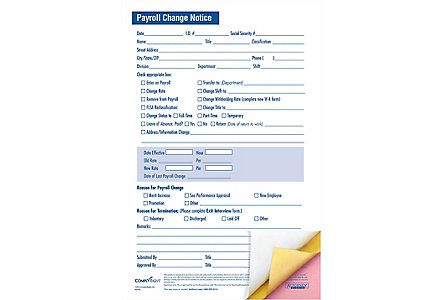 Payroll Change Notice 8.5 X 11