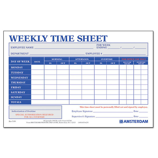 Weekly Time Sheets  Amsterdam Printing