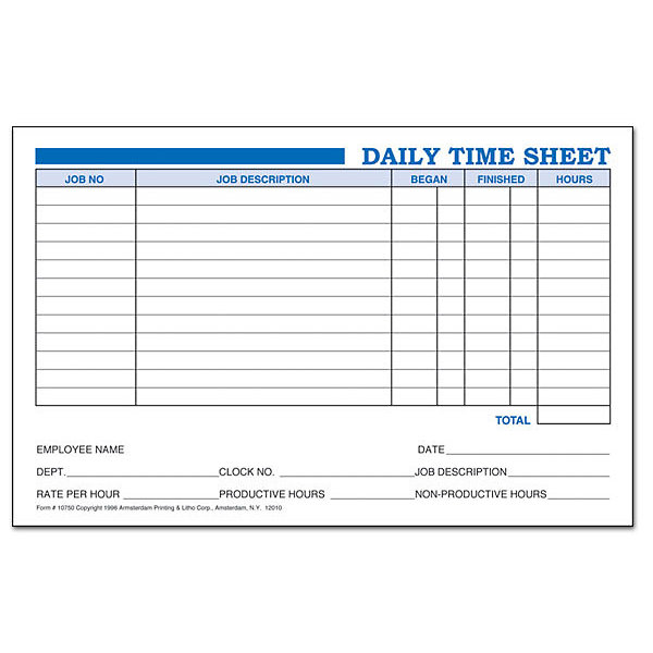Daily Time Sheets | Amsterdam Printing