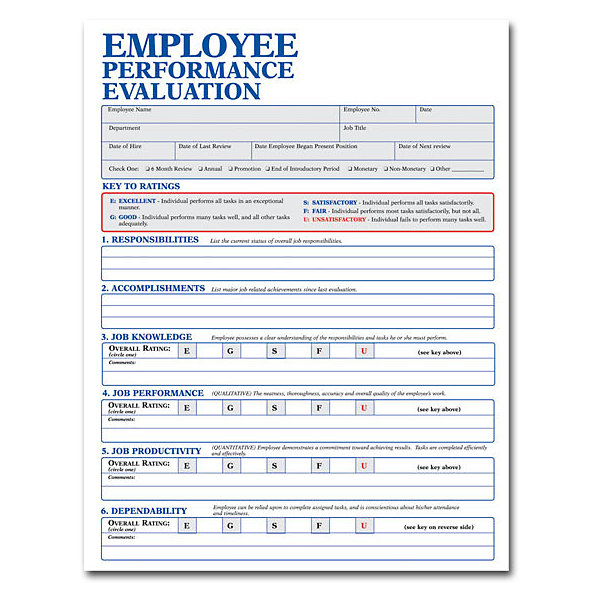 Customizable Employee Evaluation Form  Amsterdam Printing