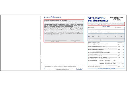 Employment Application Imprinted