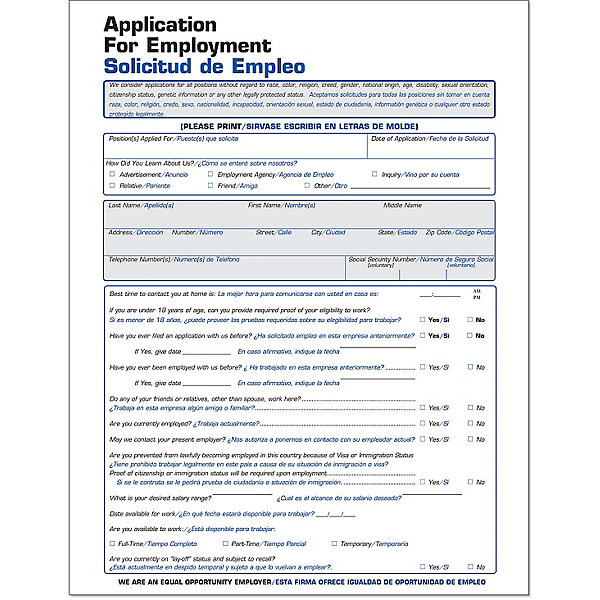 Spanish Employment Application Forms | Amsterdam Printing
