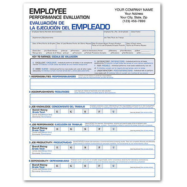SpanishEnglish Performance Evaluation Form  Amsterdam Printing