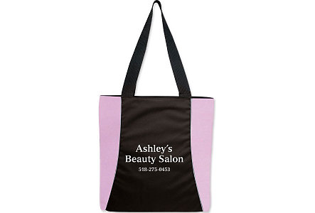 Pink Vertical Two-Tone Tote-Embroid