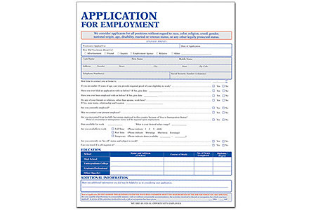 Employment Application Short Felony