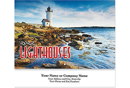 Lighthouse Wall Calendar Stapled