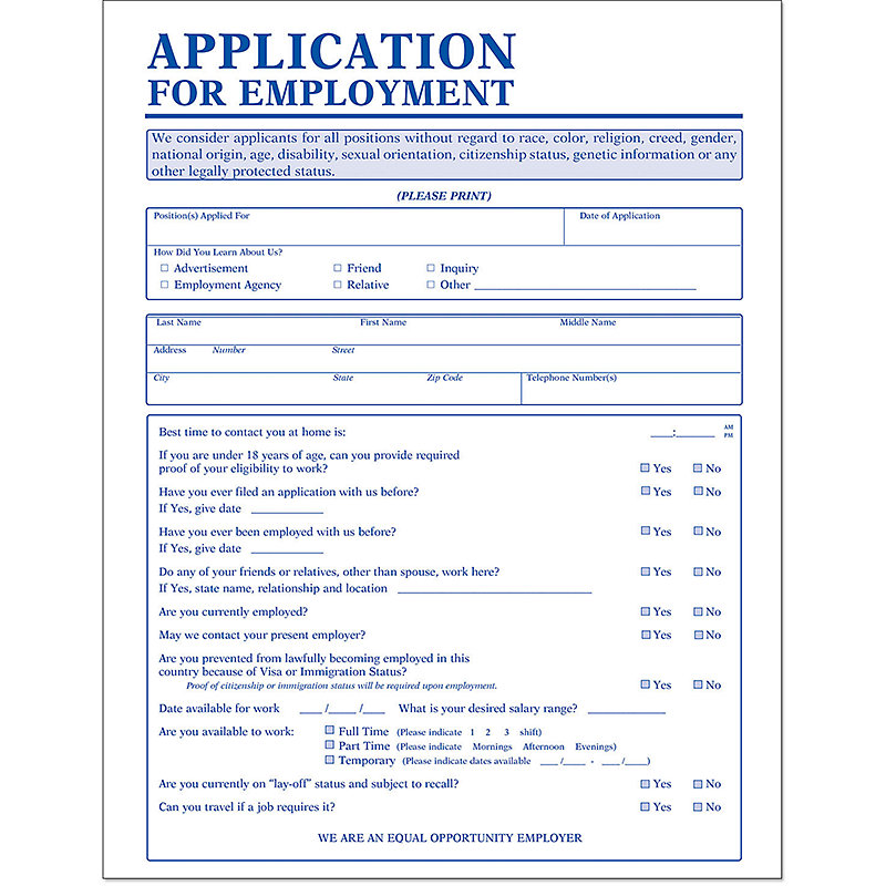 Employee Application Forms | Amsterdam Printing