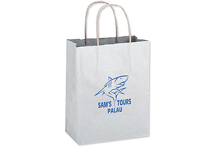 8X4.5X10.5 White Shopper Bag