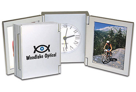 Tri-Fold Clock Photo Frame