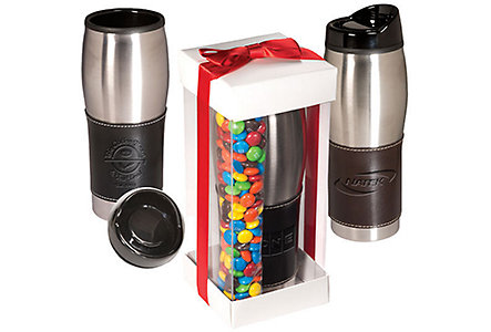 leather-wrapped tumbler with m&m