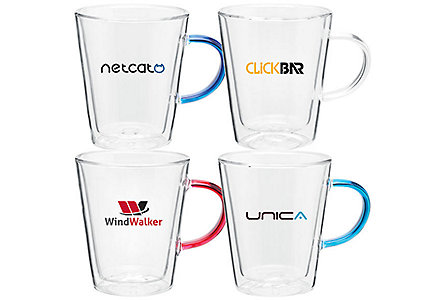 Vista Glass Mug W/Colored Handle