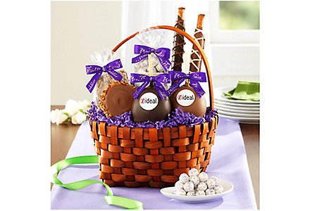 chocolate and caramel apples basket