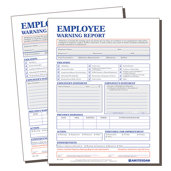 Employee Warning Report Form
