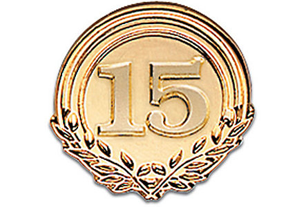 Fifteen Years Of Service -Goldtone