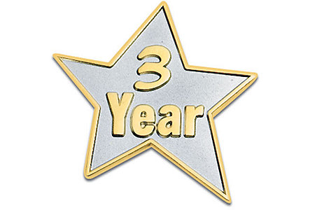 3 Year Star Lapel Pin