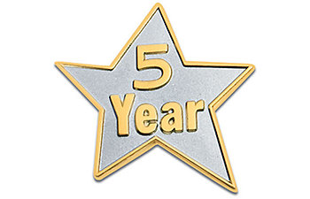 5 Year Star Lapel Pin