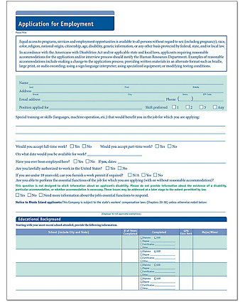 Employment Application Short Form