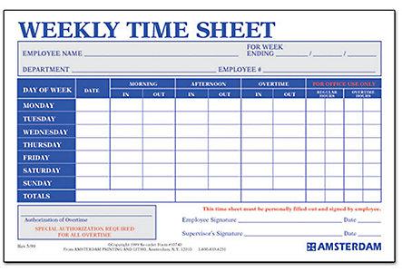 Weekly Time Sheets – Sample Weekly Timesheet