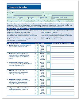 Employee performance evaluation forms for Hr performance review template