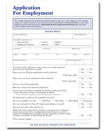 Application For Employment (Ma)