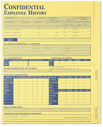 Employee History Folder Yellow