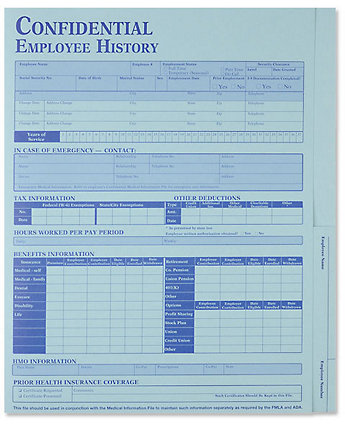 Employee History Folder Blue