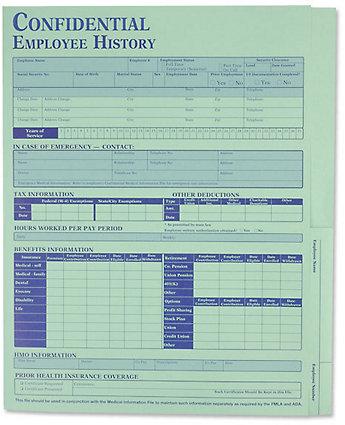 Employee History Folder Green