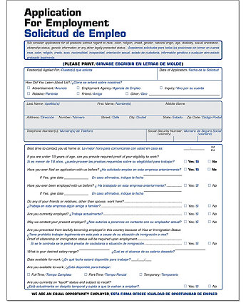 product_33517}&$ProductDetail_M$ Job Application Form In Spanish on printable for business, print out, printable paper,