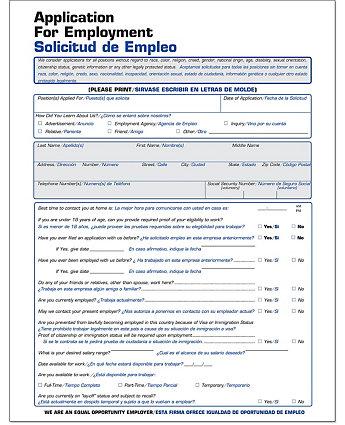 Employment Application Bilingual