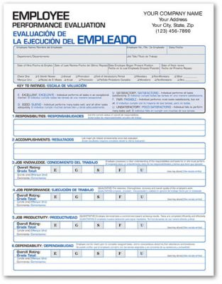Spanish-English Performance Evaluation Form | Amsterdam Printing