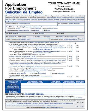 Employment Application Short Biling