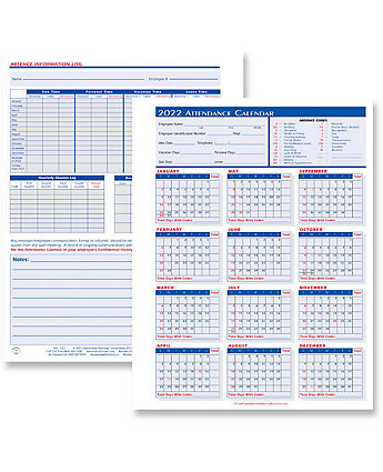 attendance calendar forms amsterdam printing