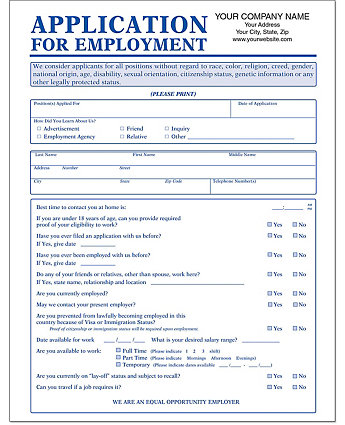 Employment App.(No Ss#)-Imp.