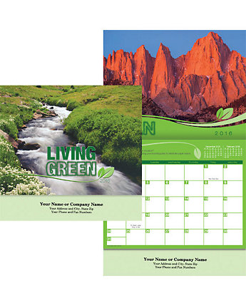 Living Green Wall Calendar Stapled