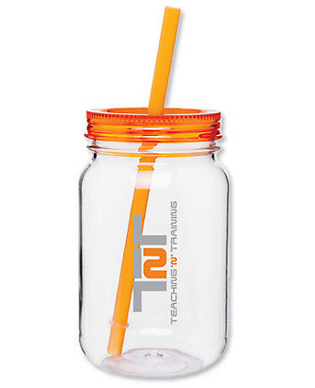Plastic Mason Jar W/Lid&Straw 25 oz