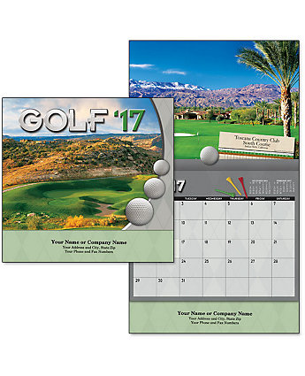 Golf Wall Calendar Stapled