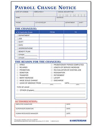 Payroll Change Notice