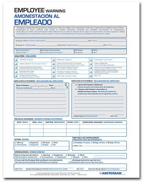 Spanish Employee Warning Report Forms – Employee Warning Notice