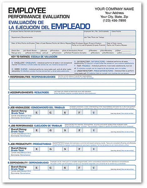 SpanishEnglish Performance Evaluation Form – Performance Evaluation Form