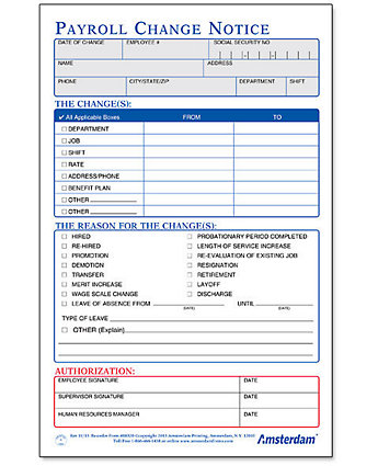 payroll change notice form template payroll change notice form half sheet amsterdam printing