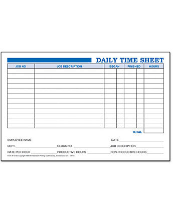 daily time sheets amsterdam printing