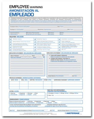 Spanish Employee Warning Report Forms  Amsterdam Printing