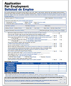 bilingual spanish forms and spanish job applications
