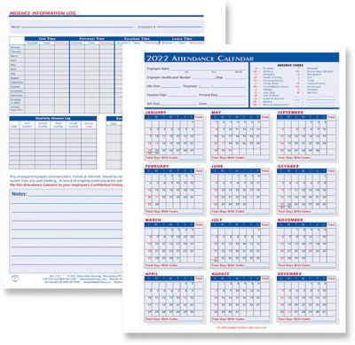 Attendance Calendar Forms Amsterdam Printing