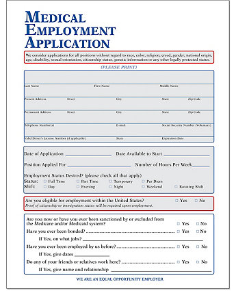 Medical Employment Application Forms| Amsterdam Printing