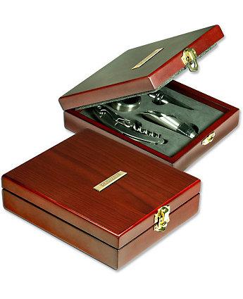 wine tool set in rosewood box