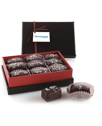 dark chocolate caramels with logo on card